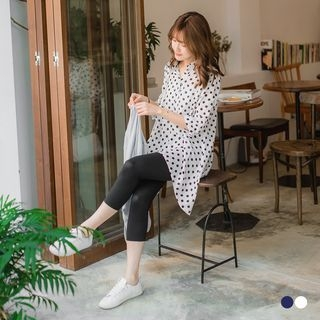Polka Dot x Mesh Back Longline Top 1060142542
