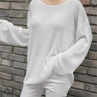 Round-Neck Ribbed Knit Top 1053043795