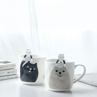 Cat Print Mug with Spoon 1060907314