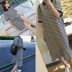 Striped Ruffle Hem Short Sleeve Midi Polo Dress 1596