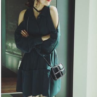 Cutout Shoulder Long-Sleeve Dress 1053994701