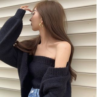 Cropped Cardigan / Knit Tube Top