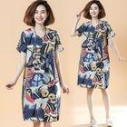 Short-Sleeve Patterned Dress 1596