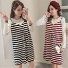 Maternity Inset Long-Sleeve Top Sleeveless Stripe Dress 1596