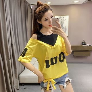 Image of Mock Two-Piece Elbow-Sleeve Cold Shoulder Letter T-Shirt