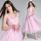 Sleeveless Floral Tulle Dress 1596