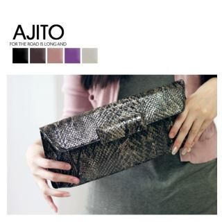 Picture of AJITO Faux-Snakeskin Clutch with Chain Strap 1021333472 (AJITO, Clutches, Korea Bags, Womens Bags, Womens Clutches)