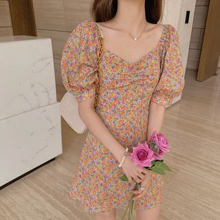 Image of Floral Puff-Sleeve Shirred Mini A-Line Dress