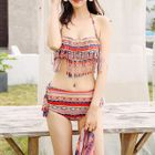 Set: Print Fringe Bikini + Beach Cover-Up 1596