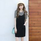 Set: Striped Short-Sleeve T-Shirt + Pinafore Dress 1596