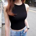 Ribbed Knit Cropped Tank Top 1596