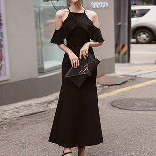 Cut Out Shoulder Frill Trim Short Sleeve Maxi Dress 1050923783