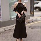 Cut Out Shoulder Frill Trim Short Sleeve Maxi Dress 1596