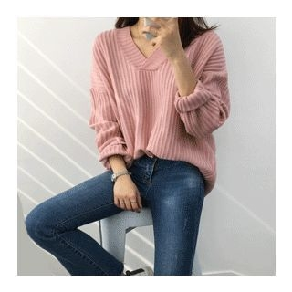 V-Neck Ribbed Knit Top 1057993369