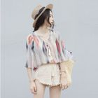 Set: Printed V-Neck Elbow-Sleeve Top + Shorts 1596