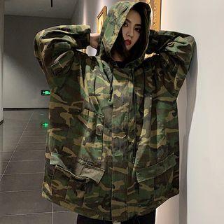 Camouflage   Jacket   Camo   Hood   Size   One