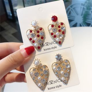 Rhinestone | Earring | Dangle | Pearl | Heart | Faux