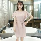Frill Sleeve Tie Waist Dress 1596