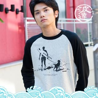 Picture of Namitatsu Surfer Print Raglan Tee Light Gray - One Size 1021375035 (Namitatsu, Mens Tees, Japan)