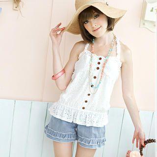 Buy Tokyo Fashion Drawstring Frill Denim Shorts 1022883072