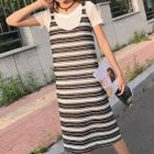 Set: V-Neck Short-Sleeve T-Shirt + Striped Pinafore Dress 1596