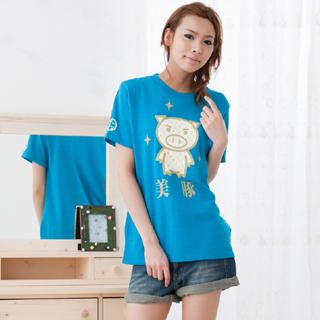 Buy Buden Akindo Print Crewneck T-Shirt – Beautiful Pig Turquoise – One Size 1022824908