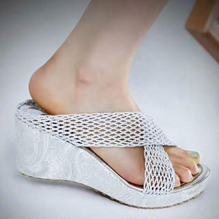 Buy Kvoll Woven Cross-Strap Wedges Mules 1022533503