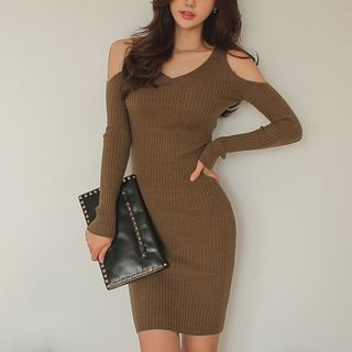 Cold Shoulder Rib Knit Dress 1062311680