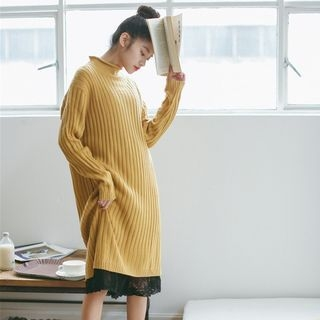Mock Neck Ribbed Knit Dress 1057015698