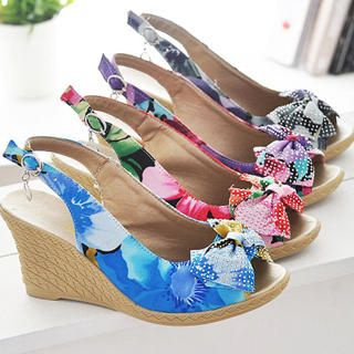 Buy KAWO Bow Printed Wedge Sandals 1022917414