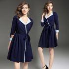 Tie-Waist Contrast Trim A-Line Dress 1596