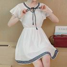 Embroidered Frill Trim Short Sleeve Dress 1596