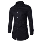 Single Breasted Trench Coat Navy Blue - 3XL от YesStyle.com INT