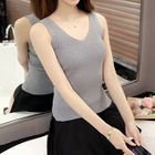 Ribbed V-Neck Knit Tank Top 1596