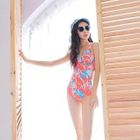 Print Halter Swimsuit + Cover-up 1596