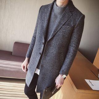 Plain Notch Lapel Long Coat 1061994130