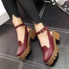 Strapped Platform Sandals Wine Red - 37 от YesStyle.com INT