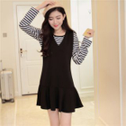 Set: Long-Sleeve Striped T-Shirt + Sleeveless V-Neck Pinafore Dress 1596
