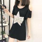Sequined Shoulder-Cutout Short-Sleeve T-Shirt Dress 1596