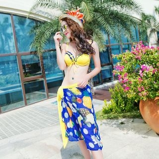Set: Bikini + Pineapple Print Beach Cover-Up 1050475324