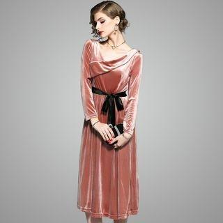 Long-Sleeve Velvet Tie-Waist Dress 1063759698