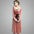 Long-Sleeve Velvet Tie-Waist Dress 1596