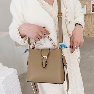 Faux Leather Buckled Bucket Bag
