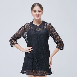 Image of 3/4-Sleeve Collared Lace Mini Dress