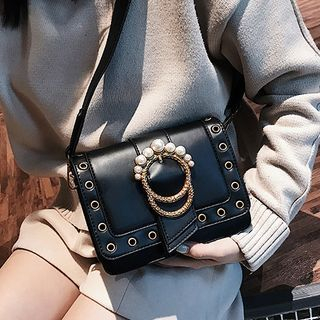 Embellished Buckle Crossbody Bag
