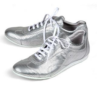 Buy Purplow All-Over Punched Point Sneakers Silver 1004910027