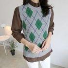 Sleeveless Argyle-Patterned Wool Blend Knit Top 1596