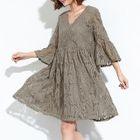 Short-Sleeve Lace A-line Dress 1596