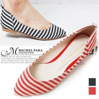 Buy MICHEL PARA COLLECTION Striped Canvas Flats 1022938748