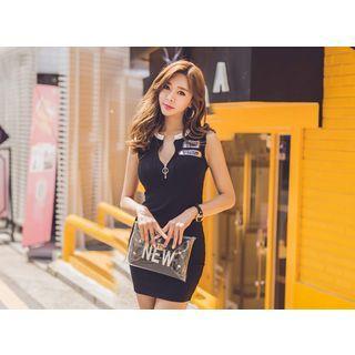 Sleeveless Zip-Front Ribbed Dress 1050634383